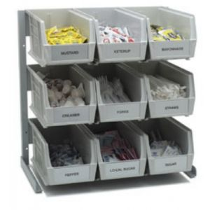 Carlisle 381109LG 9-Compartment Condiment Organizer Bin Rack - Gray