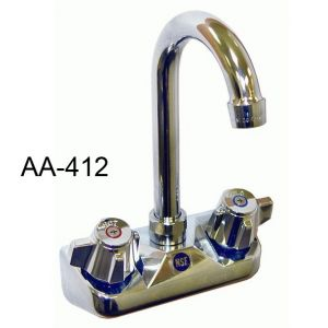 "GSW AA-412G Faucet, 4"" wall mounted backsplash, with 5"" gooseneck spout"