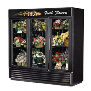 True GDM-72FC-HC Black 3-Section Glass Floral Merchandiser w/ Hinged Doors - 72 Cu. Ft.