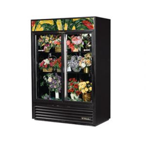 True GDM-47FC-HC-LD Black Floral Merchandiser Cooler w/ 2 Sliding Glass Doors
