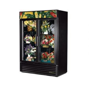 True GDM-49FC-HC Two-Section Glass Floral Merchandiser w/ Hinged Doors - 49 Cu. Ft.