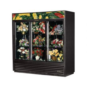 True GDM-69FC-HC-LD Black Refrigerated Floral Merchandiser w/ 3 Glass Sliding Doors