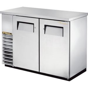 True TBB-24-48-S-HC Two-Section Back Bar Refrigerated Cooler w/ 2 Full Doors - Stainless Steel