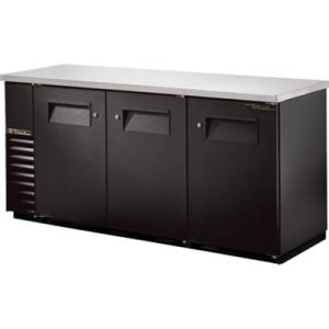 True TBB-24-72-HC Three-Section Back Bar Refrigerated Cooler w/ 3 Solid Doors with Locks - Black