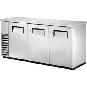 True TBB-24-72-S-HC Three-Section Back Bar Refrigerated Cooler w/ 3 Solid Doors - Stainless Steel