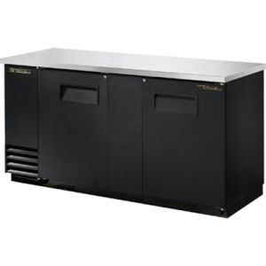 True TBB-3-HC Two-Section Back Bar Refrigerated Cooler w/ 2 Full Doors with Locks - Black