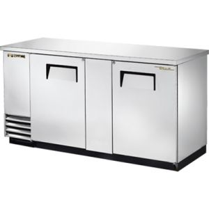 True TBB-3-S-HC Two-Section Back Bar Refrigerated Cooler w/ 2 Full Doors with Locks - Stainless Steel