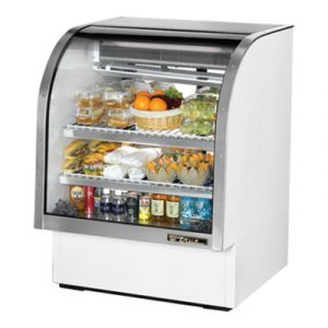 "True TCGG-36-LD White 36"" Curved Glass Refrigerated Deli Case - 17 Cu. Ft."