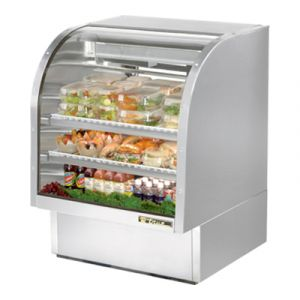 "True TCGG-36-S-LD Stainless Steel 36"" Curved Glass Refrigerated Deli Case - 17 Cu. Ft."