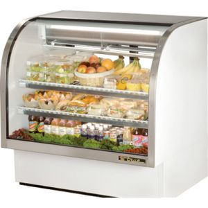 "True TCGG-48-LD White 48"" Curved Glass Refrigerated Deli Case - 23.5 Cu. Ft."