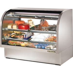 "True TCGG-60-S-LD Stainless Steel 60"" Curved Glass Refrigerated Deli Case - 30 Cu. Ft."