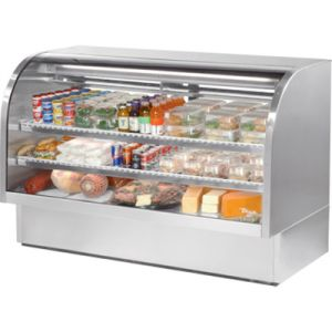 "True TCGG-72-S-LD Stainless Steel 72"" Curved Glass Refrigerated Deli Case - 37.1 Cu. Ft."