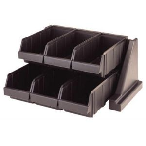 Cambro 6RS6110 Condiment Organizer Rack w/ 6 Bins - Black