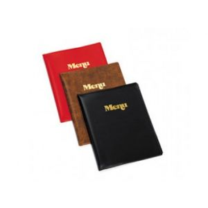 Tablecraft 811B Sealed Menu Covers, Two-Fold, Gold Stamped Menu, Vinyl Black