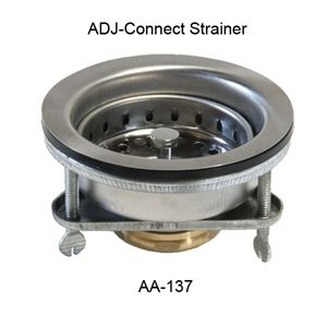 "GSW AA-137 Strainer, ADJ connect, 3-1/2"" sink opening with brass nut"