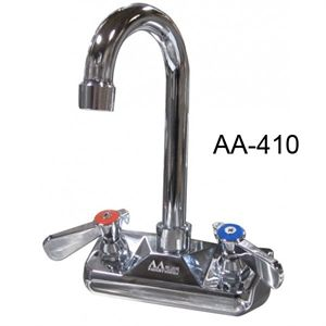 "GSW AA-410G Faucet, 4"" wall mounted backsplash, with 3-1/2"" gooseneck spout"