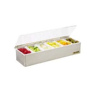 San Jamar B4186L Non-Chilled Gourmet Garnish Tray w/ 6 Pint Inserts