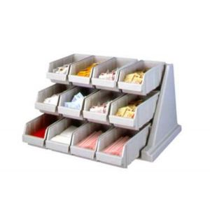 Cambro 12RS12480 Condiment Organizer Bin Rack w/ 12 Bins - Speckled Gray