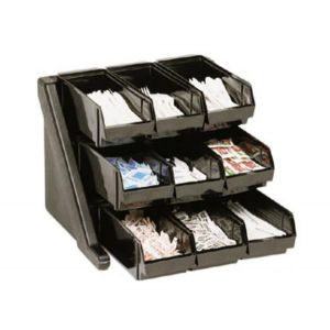 Cambro 9RS9110 Condiment Organizer Bin Rack w/ 9 Bins - Black