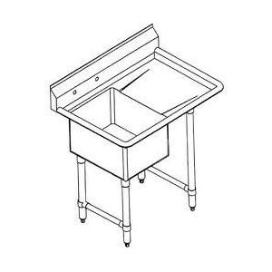 "Klingers HDS-1-DR Haevy Duty 16 gauge Sink, one compartment, 37""W x 26""D"