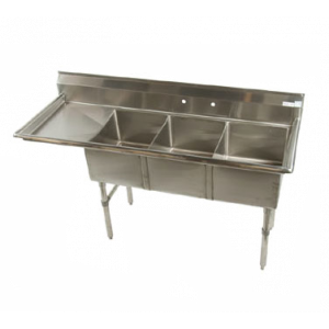 "Klingers ECS-3-DL24 Economy Sink, three compartment, 76""W x 25-1/2""D"
