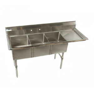 "Klingers ECS-3-DR24 Economy Sink, three compartment, 76""W x 25-1/2""D"