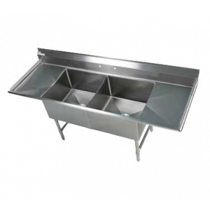"Klingers EIT-2-2D-24 2-Compartment Sink w/ (2) 24"" Drainboards"