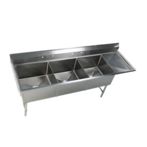 Klingers EIT-3-DR 3- Compartment Sink w/ Drainboard on Right