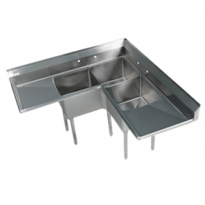 "Klingers EIT-3C-2D ELITE THREE COMPARTMENT CORNER SINK W/ TWO 18"" DRAIN BOARDS"