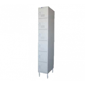 "GSW EL-6DR Locker 12""W x 20""D x 77""H, door pulls, 6-tier"