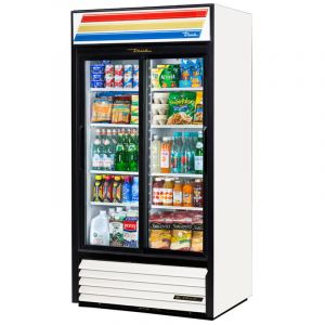 True GDM-33-HC-LD White 2-Section Refrigerated Display Merchandiser w/ 2-Sliding Doors