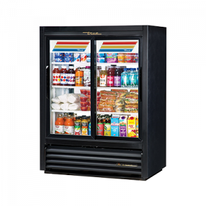 True GDM-33CPT-54-LD Black 2-Section Pass Thru Display Refrigerator, 4-Sliding Doors (2 Front & 2 Back)