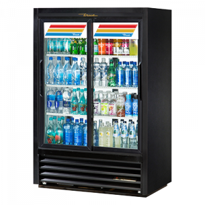 True GDM-33CPT-LD Black 2-Section Pass Thru Display Refrigerator, 4-Sliding Doors (2 Front & 2 Back)