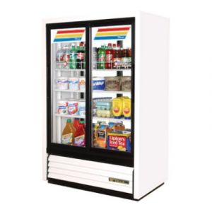True GDM-33CPT-LD White 2-Section Pass Thru Display Refrigerator, 4-Sliding Doors (2 Front & 2 Back)