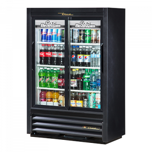 "True GDM-33SSL-54-HC Black 36"" Refrigerated Display Merchandiser w/ 2--Low-E Thermal Glass Sliding Doors"
