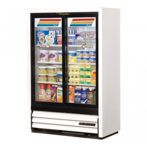 "True GDM-33SSL-54-HC White 36"" Refrigerated Display Merchandiser w/ 2--Low-E Thermal Glass Sliding Doors"
