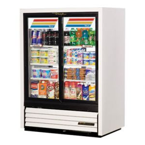 True GDM-33CPT-54-LD White 2-Section Pass Thru Display Refrigerator, 4-Sliding Doors (2 Front & 2 Back)
