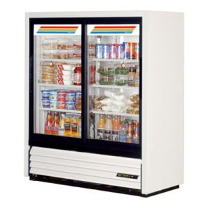 True GDM-41SL-54-HC-LD White Glass Door Merchandiser Cooler w/ 2-Sliding Doors
