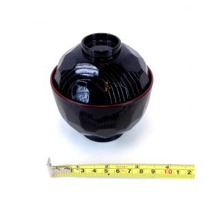"Japanese Black And Red Soup or Rice Bowl, 3.8""(W) N75B"