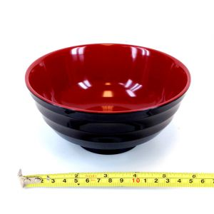 "Japanese Noodle Udon Soup Bowl  Red & Black Melamine 6-3/8""W, HMJ-607ARB"