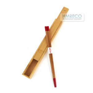Japanese style bamboo Chopsticks & Premium Case w/ Red Tip