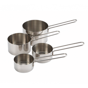 Winco MCP-4P 4-Piece Measuring Cup Set - Stainless Steel