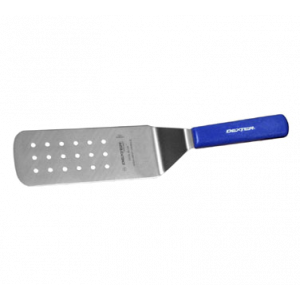 "Dexter Russell PS286-8H-PCP 8"" x 3"" Perforated Turner - Cool Blue, Heat Resistant Handle"