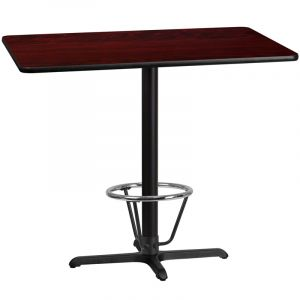 30'' x 48'' Rectangular Laminate Table Top with 22'' x 30'' Bar Height Table Base and Foot Ring