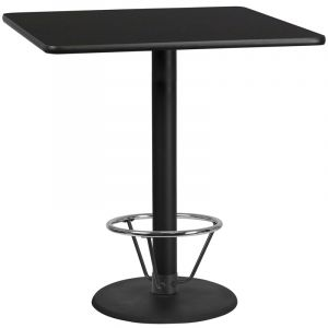 42'' Square Laminate Table Top with 24'' Round Bar Height Table Base and Foot Ring