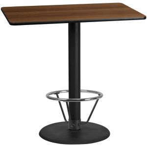 30'' x 48'' Rectangular Laminate Table Top with 24'' Round Bar Height Table Base and Foot Ring