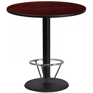 42'' Round Laminate Table Top with 24'' Round Bar Height Table Base and Foot Ring