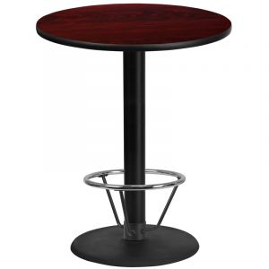 36'' Round Laminate Table Top with 24'' Round Bar Height Table Base and Foot Ring