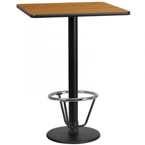 24'' Square Laminate Table Top with 18'' Round Bar Height Table Base and Foot Ring