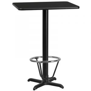 24'' x 30'' Rectangular Laminate Table Top with 22'' x 22'' Bar Height Table Base and Foot Ring